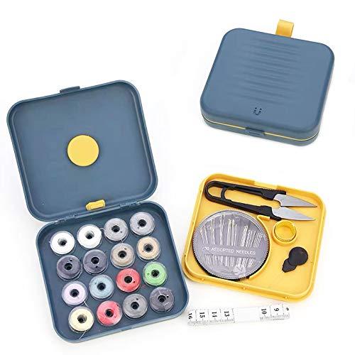 Mini Kit de Costura - Portátil Kit Costura para Hogar de Viaje Accesorios de Costura,Caja de Costura Magnética Pequeña,Kit de Costura para Bricolaje (Azul)