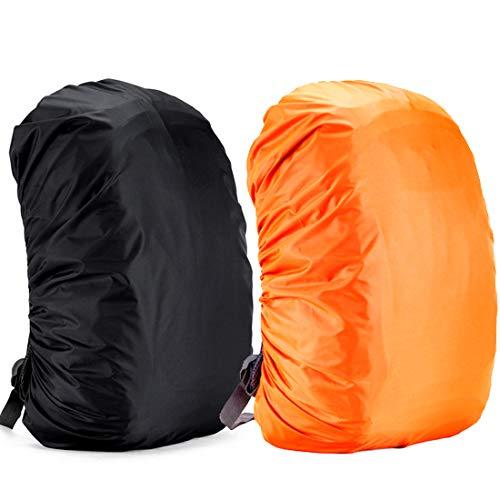Yogopro Funda Impermeable para Mochila,2 Pcs Cubre Mochila Lluvia,30~65L Cubierta de Bolsa Bolso Protector de Lluvia para Camping Senderismo Excursionismo, 30L-40L (Negro y Naranja)