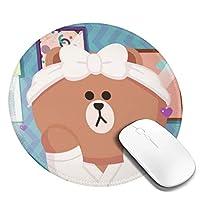ラインフレンズ 丸型 マウスパッド ゲーミングマウスパッド パソコン 周辺機器 光学式マウス対応 オフィス自宅兼用 防水 洗える 滑り止め 高級感 耐久性が良い 20*20cm