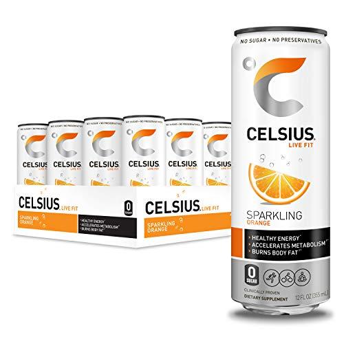CELSIUS Sparkling Orange Fitness Drink, Zero Sugar, 12oz. Slim Can (Pack of 12)