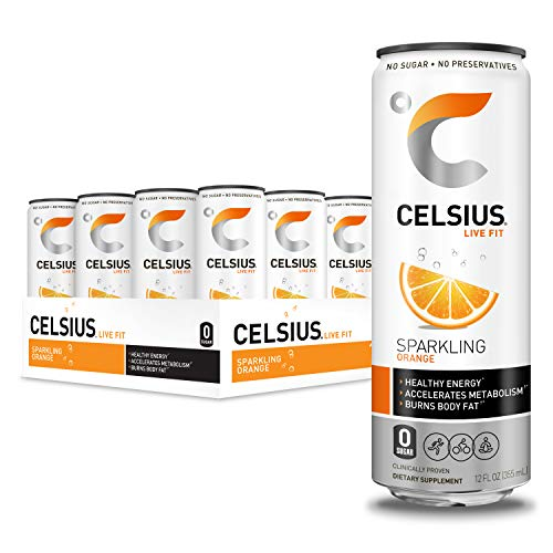 CELSIUS Sparkling Orange Fitness Drink Zero Sugar 12oz Slim Can Pack of 12