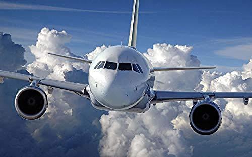 Houten puzzel 1000 stukjes Volwassen klassieke 3D-puzzel Lucht met witte wolken en vliegtuig Diy Moderne kunst Woondecoratie Uniek cadeau-75X50Cm