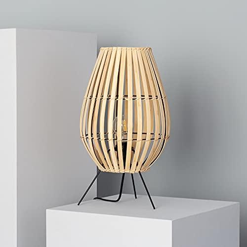 LEDKIA LIGHTING Lámpara de Mesa Bambu Atamach 440xØ250 mm Natural E27 Casquillo Gordo Bambú Decoración Salón, Habitación, Dormitorio