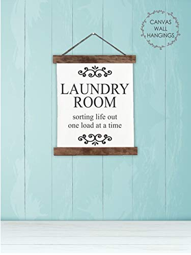 Wood Canvas Sign Wall Hanging Laundry Room Sorting Life Wall Art 12x145-Inch