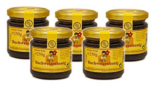 ImkereiBeck® Echter Deutscher Imkerhonig - 250g dunkler, fast schwarzer, kräftig würziger Buchweizenhonig vom Imker aus Bayern