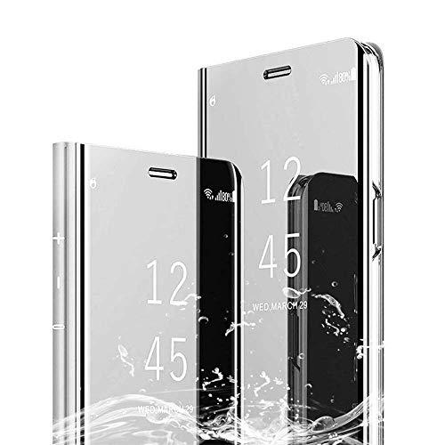 XCYYOO Spiegel Hülle Kompatibel mit LG G8 Cover Clear View Flip Schutzhülle Überzug PU Leder Tasche Frau Handyhülle Ultra Dünn Stoßfest Standing Bookstyle Case [Leicht zu Reinigen]