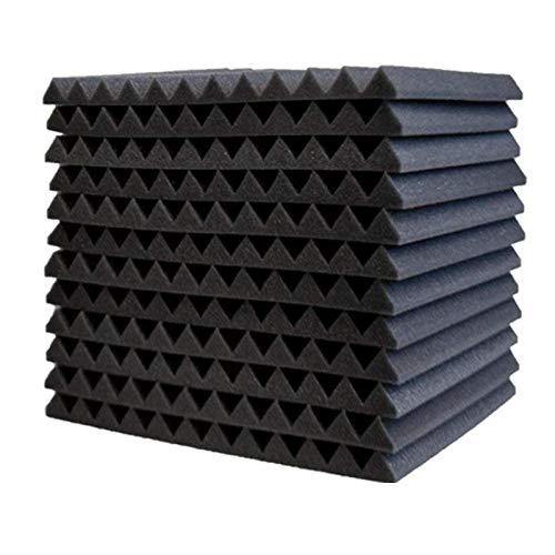 Tonsee 12 Akkustik Platten Akustikschaumstoff Fliesen Dämmung Wanddeko Pyramiden Noppenschaumstoff Breitbandabsorber Decke Foam Feuerhemmend 30x30x2cm Schwarz Rot (Schwarz)