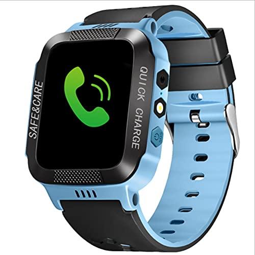 Montre intelligente pour enfants avec écran tactile de 3,7 cm - Appels, messages, GPS, appel, appareil photo, SOS, lampe de poche, pour garçons et filles de 4 à 12 ans - Noir et bleu