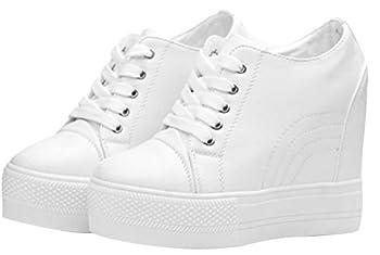 Women Wedges Sneakers with Hidden Heel Ankle High Wide Width Platform Walking Shoes  7.5 White