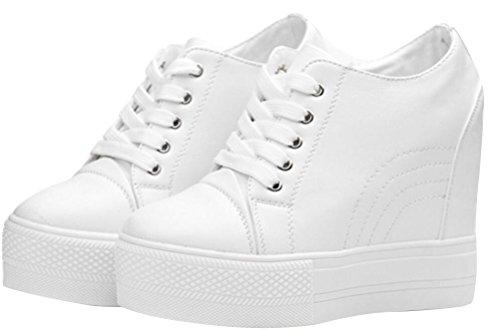 Women Wedges Sneakers with Hidden Heel Ankle High Wide Width Platform Walking Shoes (7.5, White)
