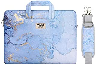 MOSISO Laptop Shoulder Bag Compatible with MacBook Pro 16 inch A2141/Pro Retina A1398, 15-15.6 inch Notebook, Watercolor Marble Briefcase Sleeve with Trolley Belt, Blue