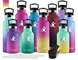 KollyKolla Gourde INOX Isotherme, Bouteille d'eau avec Paille & Filtre sans BPA, Isolation à Double Paroi en Acier Inoxydable, pour Enfant & Adulte, Sport, Gym, Yoga (750ml Barbie Rose + Jaune)