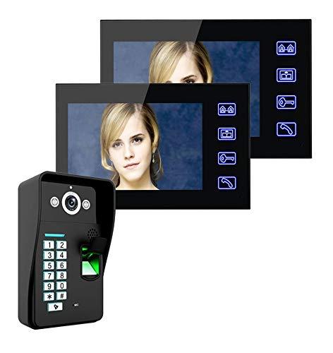 Jxiao Touch Key 7'TFT 2 Monitores Reconocimiento de Huellas Dactilares Videoportero Teléfono Kit de Sistema de intercomunicación + Cerradura eléctrica + Desbloqueo de Control Remoto inalámbrico
