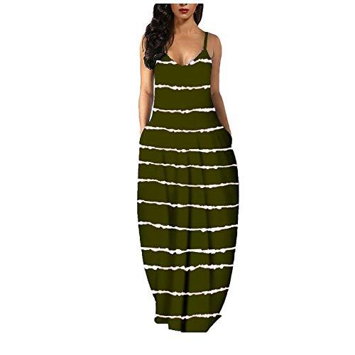 Dosoop Women Stripe Print Long Maxi Dress with Pocket,Summer Sexy Sleeveless V Neck Spaghetti Strap Boho Beach Sundress