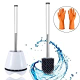 Product Image of the Aulandy Hygienic Toilet Brush and Holder Bathroom Toilet Bowl Brush Toilet Scrubber Upgraded Modern Design Toilet Bowl Cleaner Brush with Soft Bristle Easy to Clean