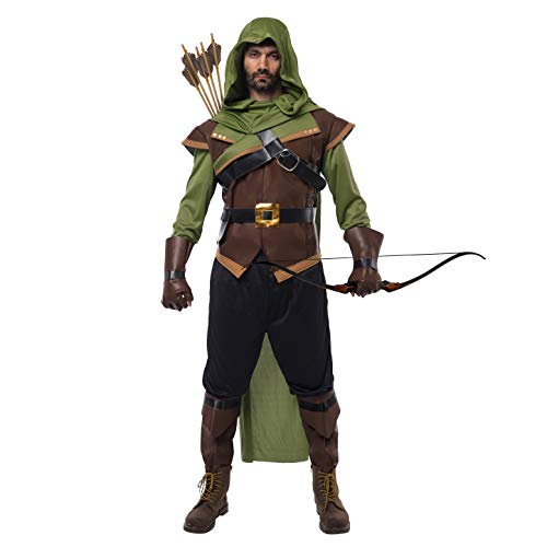Spooktacular Creations Renaissance Robin Hood Deluxe Men Costume Set Made of Leather for Halloween Dress Up Party (X-Large) Brown