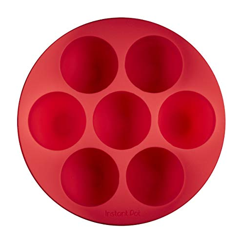 Instant Pot Official Silicone Egg Bites Pan with Lid, Compatible with 6-quart and 8-quart cookers, Red