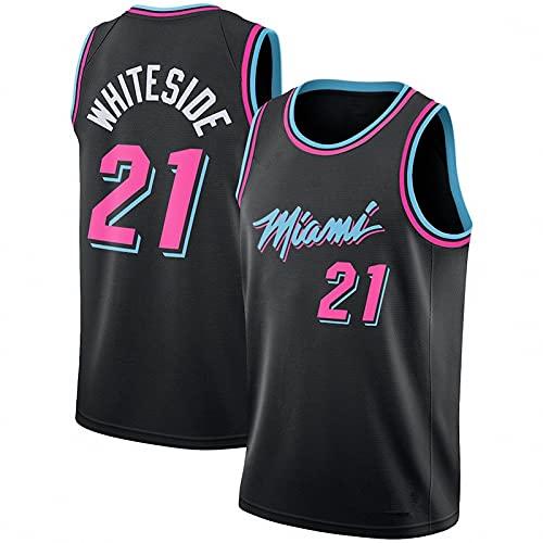 WYNBB Hombre Basketball Jersey,NBA Hot Fire Team n#21 Ropa de Baloncesto,Camisetas Al Aire Libre Casual Mujer Redondo CháNdales,Black,S