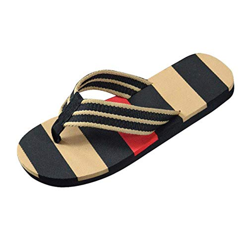 SELLM Shoes Men Slipper Men Summer Stripe Flip Flops Shoes Sandals Male Slipper Flip-flops Arrival Summer,Black,8.5