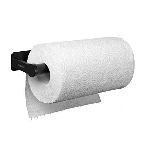 HANAMURA Küchenrollenhalter Wand ohne bohren - Moderner Wandrollenhalter selbstklebend in schwarz - Hochwertiger Küchenpapierhalter Küchen Zubehör Rollen Halter