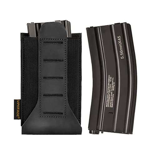 VIPERADE FB3D MOLLE Mag Pouch, 5.56mm, 7.62mm Mag Pouch, Universal Elastic Tactical MOLLE Magazine Pouch for Vest/Belt/Backpack (Black)