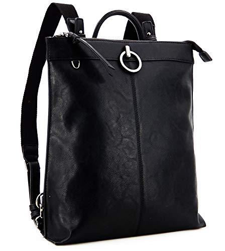 Mochila para mujer y niña – Elegante mochila de piel sintética – Mochila para escuela, trabajo y ocio, color Negro, talla Medium