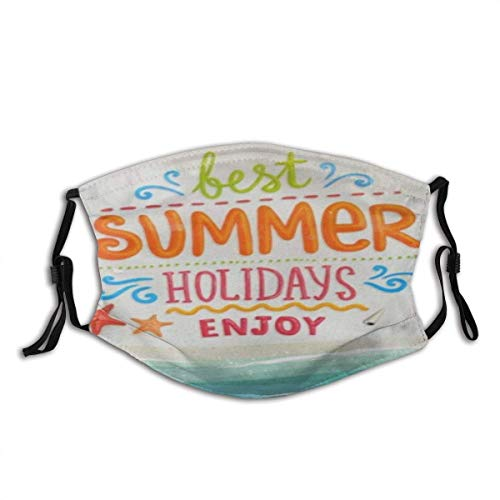 Cubierta Facial Las Mejores Vacaciones de Verano Disfrute de una cálida decoración Facial de algodón Unisex Lavable y Reutilizable para Exteriores
