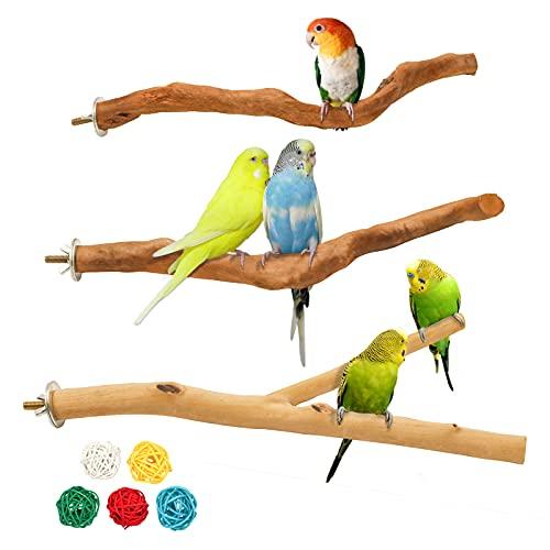 suruikei 3 Stück Natur Sitzstangen für Vögel, Gebogene Sitzstangen für Vogelkäfige, Vogelschleifklauen Klettern Stehend Vogelkäfig Zubehör für Wellensittich Nymphensittich Kanarienvogel (Stil 1)
