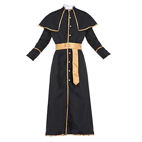Milageto Tnica de Sacerdote para Hombre Disfraz De Halloween Cardenal Catlico Obispo Pontfice Clrigo Trajes - XL