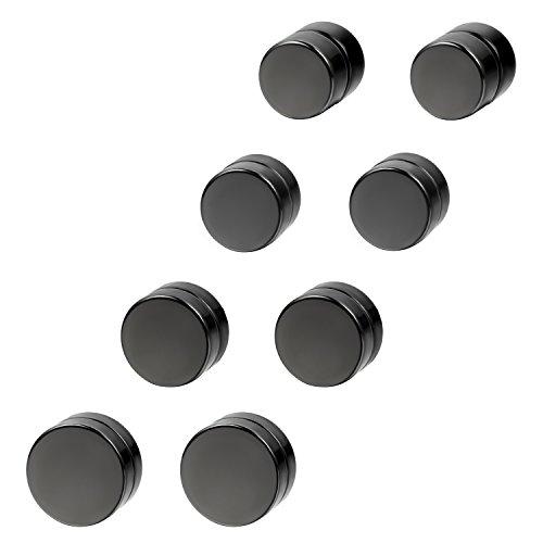 cupimatch 4 Paar Magnetische Fakeplugs Fake Plug Tunnel Ohr Magnet Ohrclips Ohne Loch 6 8 10 12mm Schwarz Piercing