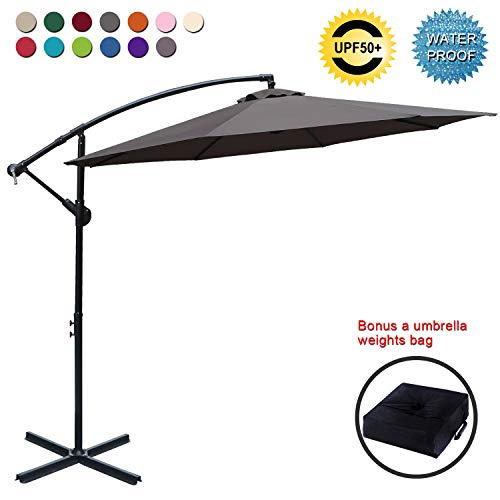 ABCCANOPY Patio Umbrellas Cantilever Umbrella Offset Hanging Umbrellas 10 FT Outdoor Market Umbrella...
