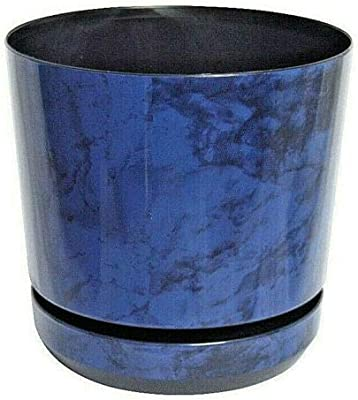 Korad Blue flower indoor plant pot with saucer plastic gloss modern decorative planter with drainage holes (16cm - 6.3 inch)
