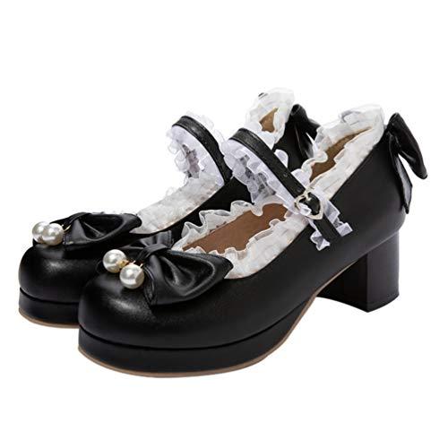 Genérico Zapatos con Correa en El Tobillo para Mujer Zapatos con Tacón Grueso Tacones con Lazo de Perlas para Mujer