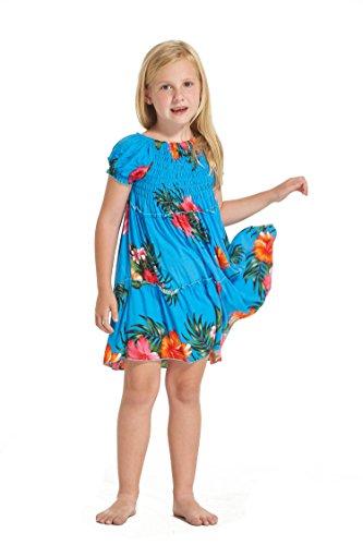 Girl Hawaiian Short Sleeve Elastic Top Dress in Turquoise Floral Size 10