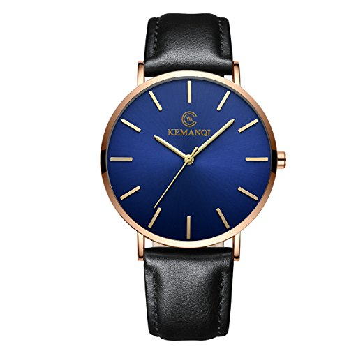Minimalist Ultra Thin Big Face Dress Watches for Men Business Casual Simple Slim Quartz Analog Wrist Watch Waterproof Leather Classic Gift (D)