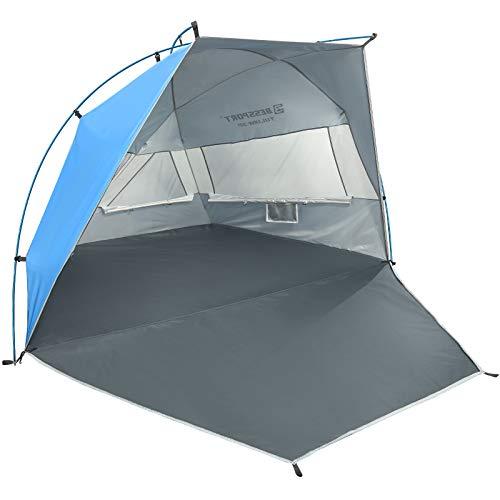 Bessport Tienda de Playa con Sun Shelter para 1-2 Personas, 3-4Personas, UPF 50+Portátil Tienda de Playa, para Playa, Pesca, Senderismo y Camping (XL-Azul y Blanco)