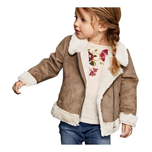 Muium(TM) Baby Kinder Mantel Mädchenjacken Lederjacke Oberbekleidung Einfarbige Langarm- und Fleece-Reißverschlusstaschen Warm Outwear