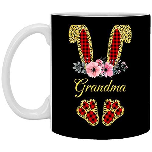 Wielkanocny pomysł na prezent 2021 - Wielkanoc babcia króliczek czerwona krata kwiatowy lampart Wielkanocny prezent dla babci wielkanocny kubek do kawy 325 ml