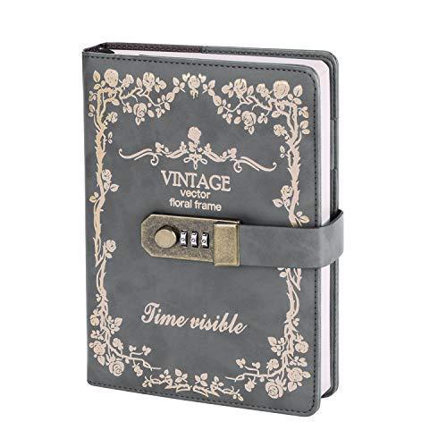 Cuaderno retro A5 con cerradura de números, cuaderno de notas vintage, diario de viaje, a rayas, de piel sintética, 270 páginas, colección de planificador de vida, estudiantes.