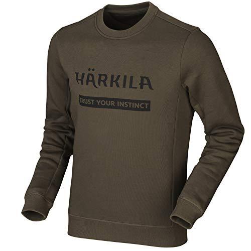 Härkila Sweatshirt in Grün und Braun für Herren - Pullover mit Logoaufdruck langärmlig aus Baumwolle - Dicker Outdoorpullover für Jäger und Freizeitaktivitäten, Größe:S, Farbe:Willow Green