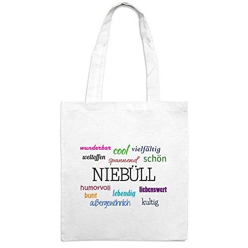 Jutebeutel mit Stadtnamen Niebüll - Motiv Positive Eigenschaften - Farbe weiß – Stoffbeutel, Jutesack, Hipster, Beutel