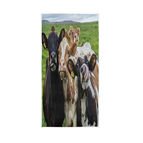 LUCKYEAH - Toallas de mano de algodón con diseño de vaca para niñas, mujeres, niños, toallas de mano suaves y absorbentes para el hogar, hotel, piscina, gimnasio, 76 x 38 cm