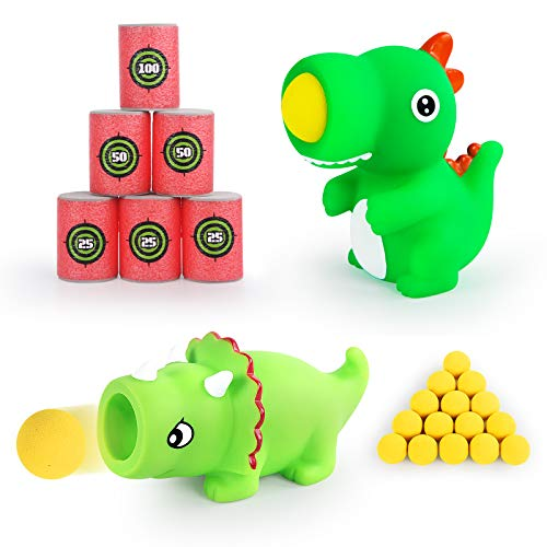 KUARLUBI Shooting Games - Dinosaur Toys Foam Ball Popper Guns and 6PCS EVA Soft Bullet Target  Toy Guns for Kids 2pk with 16 Foam Ball for Boys Girls Birthday Gifts (Dinosaur)