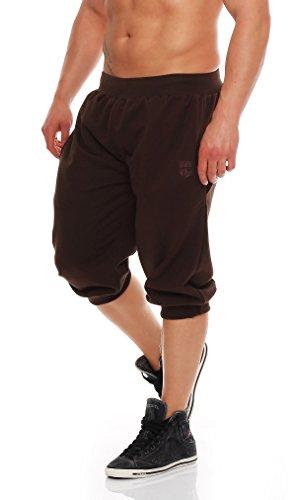 Gennadi Hoppe Herren 3/4 Trainingshose Jogginghose Bermuda Pant (L, braun)