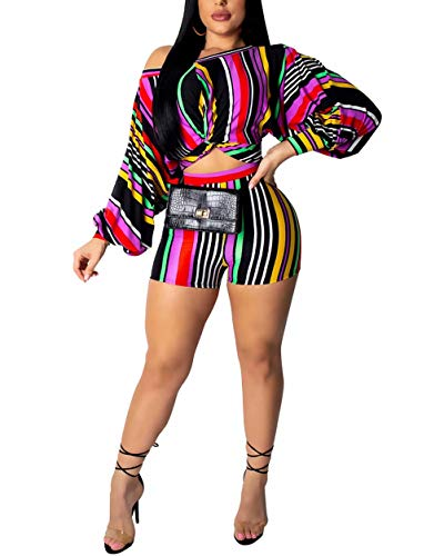 Women 2 Piece Outfit Puff Long Sleeve Striped Knot clulorful Rainbow T-Shirts Bodycon Shorts Set Clorful Stripe XXL