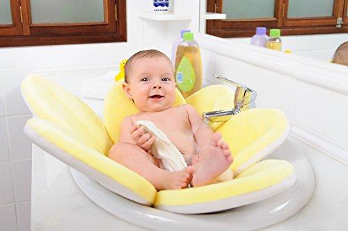 WonderWaldLight Badeblume - Baden Sie ihr Kind im Waschbecken - 100% Baby Badespaß, Gepolsterte Liegefläche, Kuschelig & Weich - Gelb