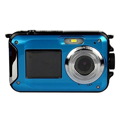 PowerLead PLDH20 Double Screens Waterproof Digital Camera 2.7-Inch Front LCD Easy Self Shot Camera(blue)