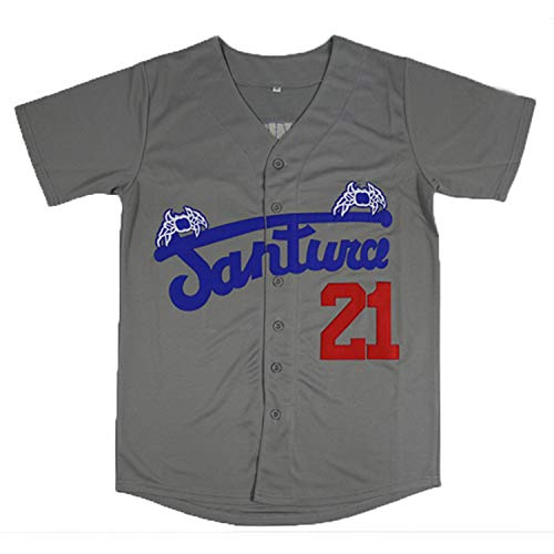 Roberto Clemente #21 Santurce Crabbers Puerto Rico Baseball Jersey Stitched Men Jersey Black White Grey S-3XL (21 Clemente Grey, Large)
