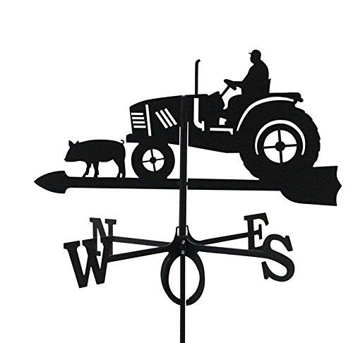 Svenska Metall Deko Wetterfahne Traktor schwarz großes Format
