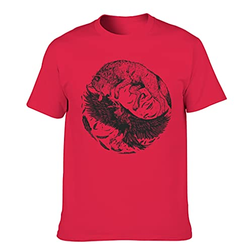T-HGeschäft Camiseta de cuello redondo para hombre con diseño de lobo vikingo, Red1, XXXXXXL